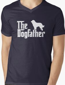 THE DOGFATHER Great Pyrenees Dogs Mens V-Neck T-Shirt