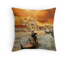 The Gondolier-rowing at sunset Throw Pillow