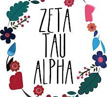 Zeta Tau Alpha Flower Wreath Design by Margaret Young