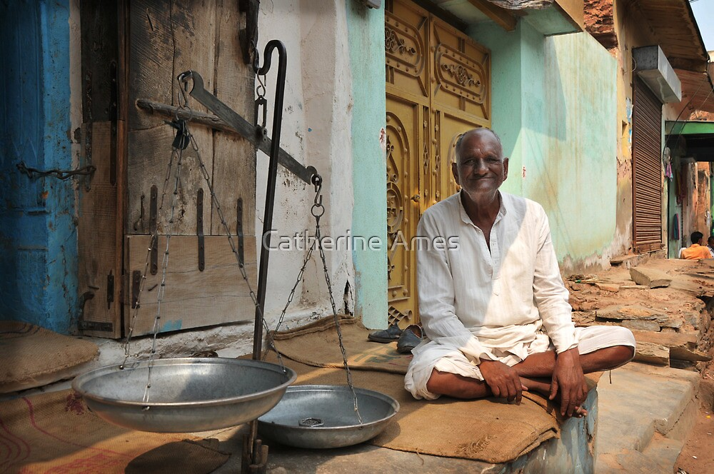 weighing man, Rajasthan, India by Catherine Ames