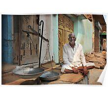 weighing man, Rajasthan, India Poster