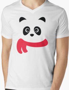 Cute panda with scarf Mens V-Neck T-Shirt
