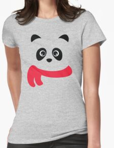 Cute panda with scarf Womens Fitted T-Shirt