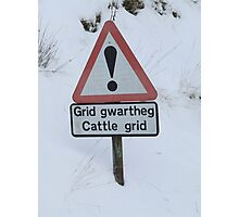 Welsh winter road sign Photographic Print