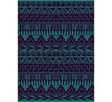 Blue & Purple Aztec Pattern Photographic Print