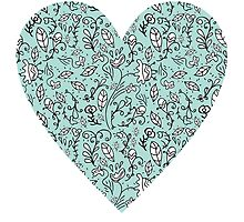 Blue Flower Heart by Carla Martell