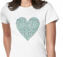 Blue Flower Heart Womens Fitted T-Shirt