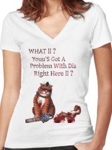 cat mobster Women's Fitted V-Neck T-Shirt