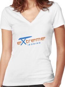 Extreme ironing (color) Women's Fitted V-Neck T-Shirt