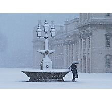 Fountain in Snow Photographic Print