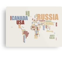 World Map in Words 2 Metal Print