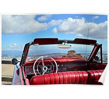 Red Plymouth Convertible car Poster