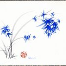 &quot;Soft Blue Flowers&quot; Chinese Painting by Rebecca Rees by Rebecca Rees
