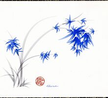 """Soft Blue Flowers"" Chinese Painting by Rebecca Rees by Rebecca Rees"