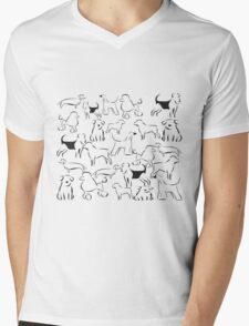 Dog Crazy! Black n White Mens V-Neck T-Shirt