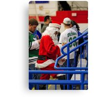 Santa Loves Hockey...And Beer Canvas Print