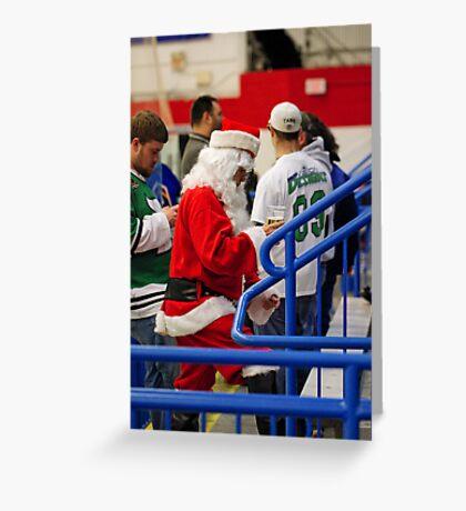 Santa Loves Hockey...And Beer Greeting Card