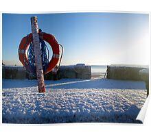 Frozen Buoy in the snow - Goodrington, Devon. Poster