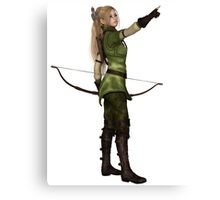 Blonde Female Elf Archer, Pointing Canvas Print
