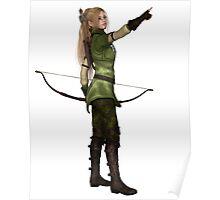 Blonde Female Elf Archer, Pointing Poster