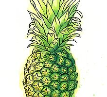 Watercolour pineapple by Carl Conway