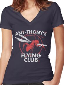 Ant Flying Club Women's Fitted V-Neck T-Shirt
