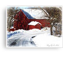 Snowy road home Canvas Print