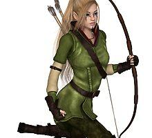 Blonde Female Elf Archer, Kneeling by algoldesigns