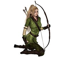 Blonde Female Elf Archer, Kneeling Photographic Print