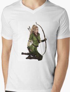 Blonde Female Elf Archer, Kneeling Mens V-Neck T-Shirt
