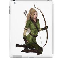 Blonde Female Elf Archer, Kneeling iPad Case/Skin