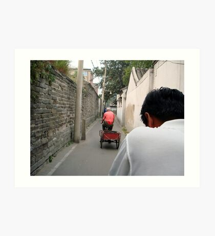 Rickshaw through the Hutong, Beijing, China Art Print