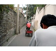 Rickshaw through the Hutong, Beijing, China Photographic Print