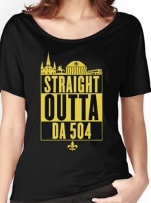 Straight Outta Da 504 (Black and Gold) Women's Relaxed Fit T-Shirt