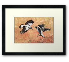 Squabbling Magpies oil painting _ art print version Framed Print