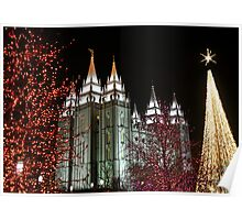Salt Lake Temple - December Christmas Lights Poster