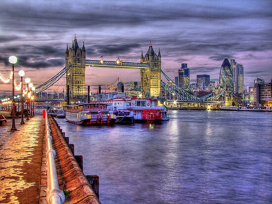 Tower Bridge And River Boats - HDR by Colin J Williams Photography