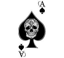 Ace of spades Sugar skull Tattoo graphic art Photographic Print