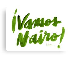 Vamos Nairo! Bold Brush Script in Movistar Green Canvas Print