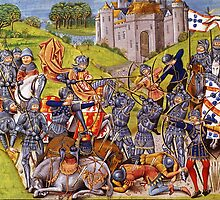 English vs French Medieval Battle Mural by Vintage Designs