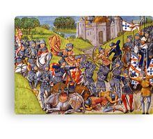 English vs French Medieval Battle Mural Canvas Print