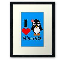 Minnesota penguin i love minnesota geek funny nerd Framed Print