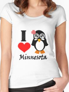 Minnesota penguin i love minnesota geek funny nerd Women's Fitted Scoop T-Shirt