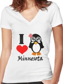 Minnesota penguin i love minnesota geek funny nerd Women's Fitted V-Neck T-Shirt