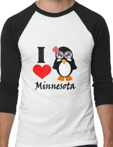 Minnesota penguin i love minnesota geek funny nerd Men's Baseball ¾ T-Shirt