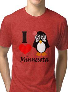 Minnesota penguin i love minnesota geek funny nerd Tri-blend T-Shirt