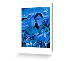 LOVERS IN BLUE Greeting Card