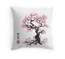 Forest Spirits sumi-e  Throw Pillow