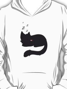 Sleepy Black Cat T-Shirt