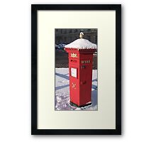 Red Pillar Box like a beacon in the snow Framed Print